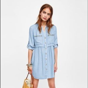 Zara Dresses - ZARA denim mini dress size S (Brand New)